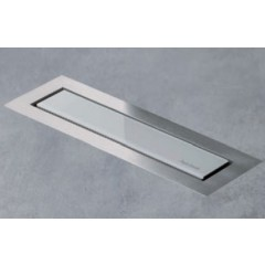 Easy Drain AquaJewels Linea Design glas glans 30cm M1 met zijuitlaat 40mm waterslot 30mm wit AJL-30-M1-30-Z4GW