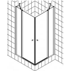 Kermi Atea pendeldeur met vast segment voor hoekinstap (per deel) 100x185cm links met KermiClean glanszilver/helder ATESL10018VPK