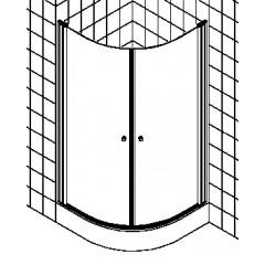 Kermi Atea douchecabine kwartrond met pendeldeuren 90x185cm radius 55cm met KermiClean glanszilver/helder ATV5509018VPK