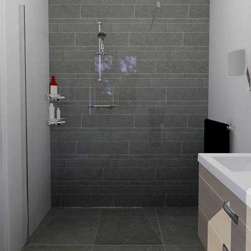Complete badkamer met inloopdouche digtotaal - En grijze bad leisteen ...