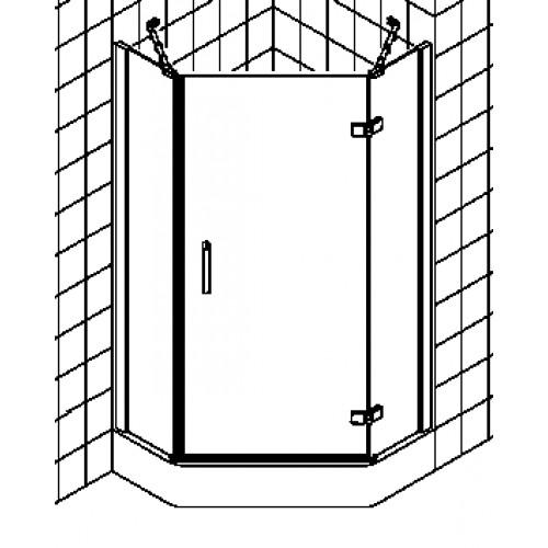 kermi gia xp douchecabine vijfhoekig draaideur met vaste segmenten 90x200cm rechts met. Black Bedroom Furniture Sets. Home Design Ideas