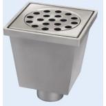van den Berg aluminium vloerput onderuitlaat met emmer 20x20cm RVS rooster 75mm reukslot 50mm 2070