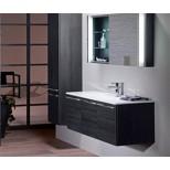 Burgbad Bel For Me meubelset met spiegel met LED verlichting 121x48.7cm met wastafel mineraalsteen hacienda zwart F1296SENK121C1