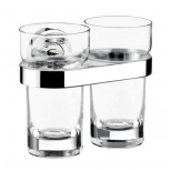 Emco Polo dubbele glashouder met glazen inzet chroom 072500100