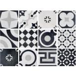 Fioranese Cementine Black & White mix vloertegel 20x20 0CBW20R