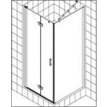 Kermi Diga pendeldeur voor zijwand 100x200cm links glanszilver/helder DI2SL10020VAK