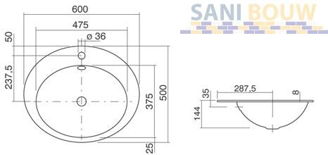 alape eb 0600h inbouwwastafel geglazuurd staal 60x50cm wit 2104000000. Black Bedroom Furniture Sets. Home Design Ideas