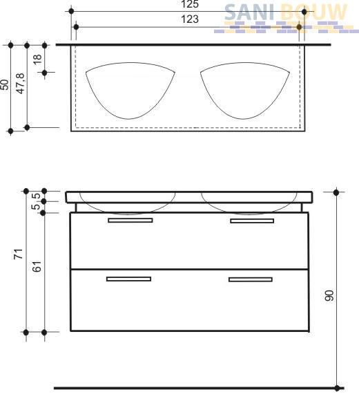 Dsm Keukens Betaling : Detremmerie Pascale onderbouwkast deep D met 2 waskommen