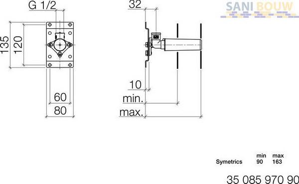 Dornbracht symetrics inbouwdeel voor wanduitloop en for Dornbracht 3508597090