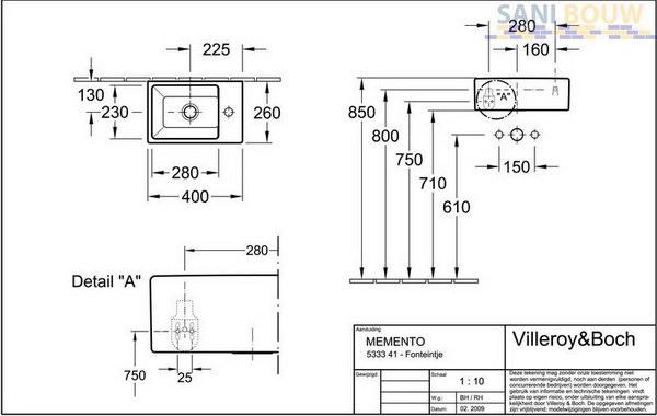 Villeroy En Boch Memento Fontein.Villeroy Boch Memento Fontein Met Bevestiging 40x26cm Z Overloop
