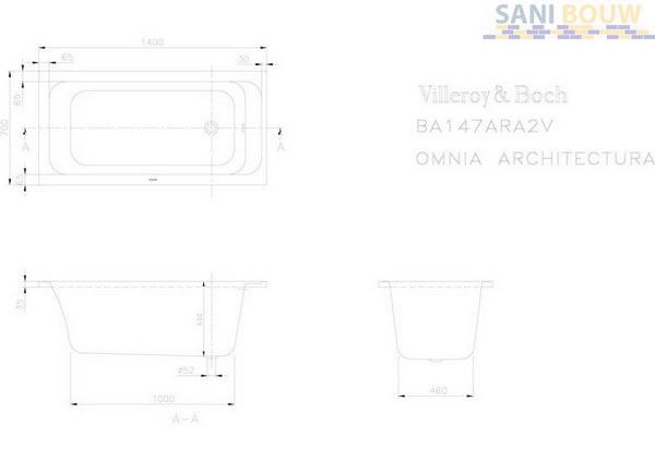 villeroy boch omnia architectura solo 4 h ligbad 1400x700x460mm wit acryl z bad. Black Bedroom Furniture Sets. Home Design Ideas