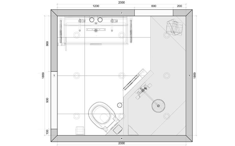 Kleine badkamer met inloopdouche for Grondplan badkamer