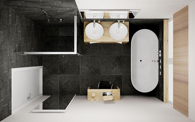 Super Strakke badkamer met vrijstaand bad, eiken badmeubel en stucwerk MN07