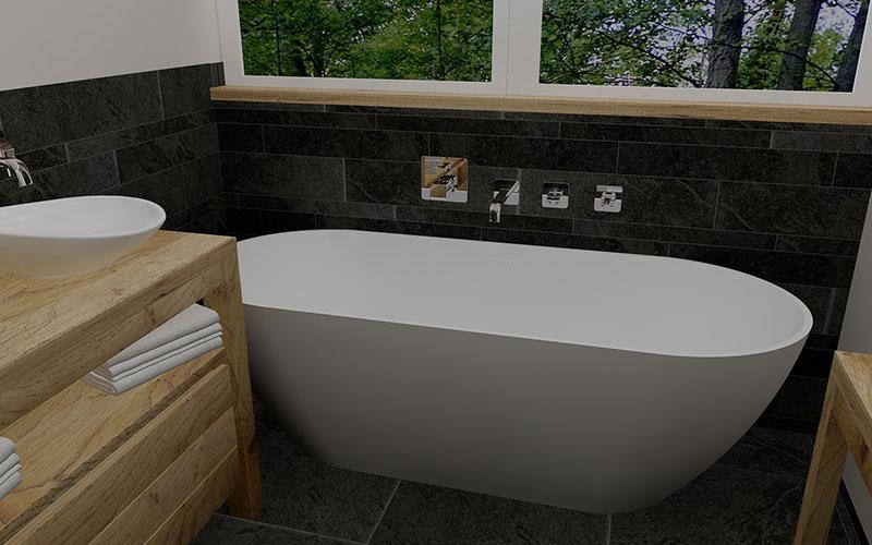 Strakke badkamer met vrijstaand bad eiken badmeubel en stucwerk - Badkamer m met bad ...