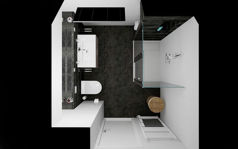 Badkamer Woensdrecht, strakke badkamer met grote douche