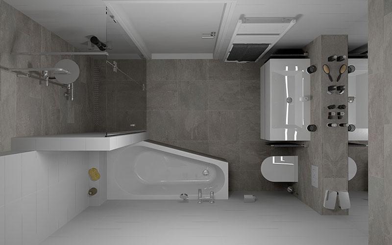 20170301 080218 koof maken in de badkamer - En grijze bad leisteen ...