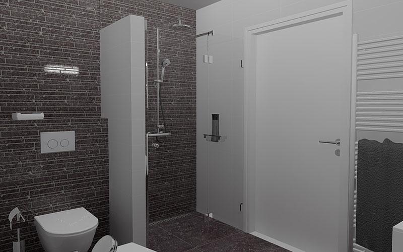 Badkamer fijnaart ruimte besparing met asymetrisch bad
