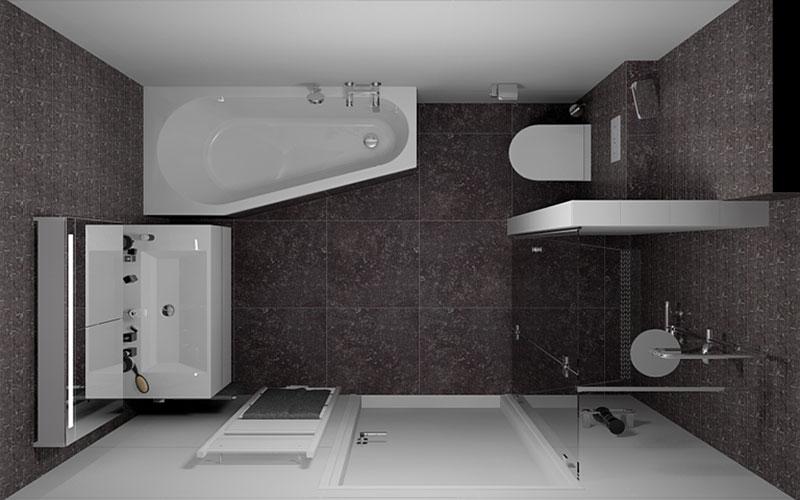 Badkamer fijnaart ruimte besparing met asymetrisch bad for Badkamer ruimte