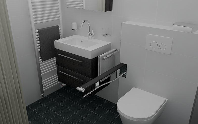 Badkamer hoeven badkamer met aangepaste doucheruimte