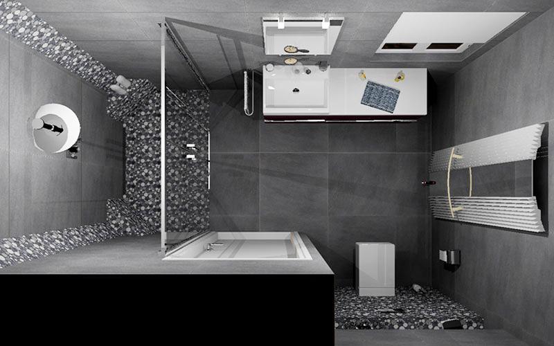 badkamer oud gastel strakke badkamer met kiezel mozaiek