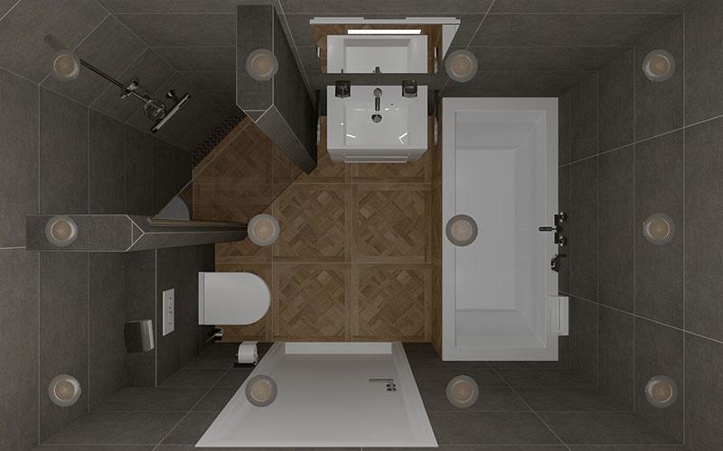 Badkamer Oudenbosch, donkere vloertegels op de wand