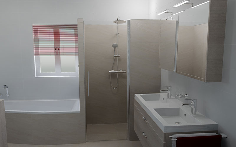 Badkamer douche - Muur tegel installatie ...