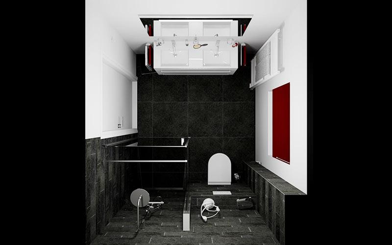 Badkamer Rijsbergen, strakke badkamer wit-antraciet