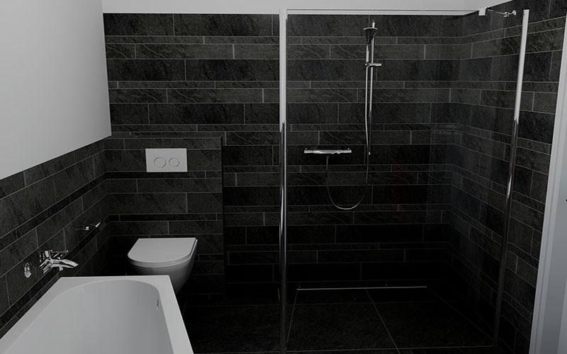 Badkamer rilland asymmetrisch bad met inloopdouche for App badkamer ontwerpen