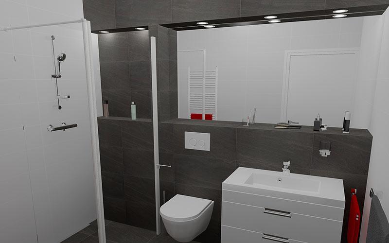 Badkamer Wernhout, badkamer met inloopdouche met nis