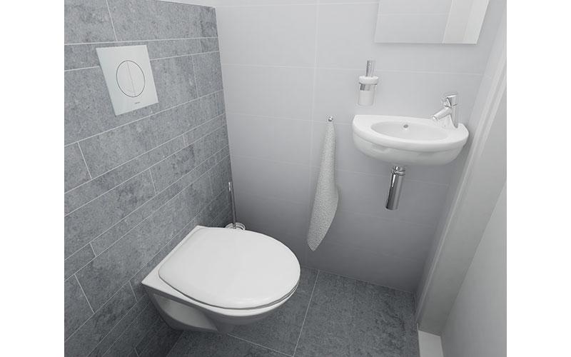 Klein en strak toilet in wit-grijs