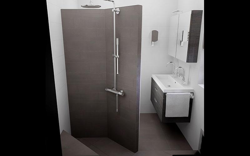 Inloopdouche Met Wastafelonderkast : Kleine badkamer met inloopdouche