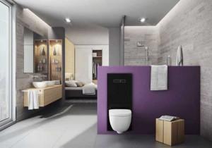 TECElux zwart in open badkamer