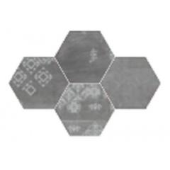 Provenza Gesso black velvet esagona patchwork decortegel 25,5x29,4 R303X9R