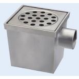 van den Berg aluminium vloerput met zijuitlaat en emmer 20x20cm RVS rooster 75mm reukslot 50mm 223
