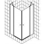 Kermi Atea pendeldeur met vast segment voor hoekinstap (per deel) 120x185cm links met KermiClean glanszilver/helder ATESL12018VPK