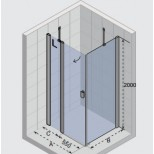 Riho Fjord F206 douchecabine 90x90 links chroom helder glas GF1144801